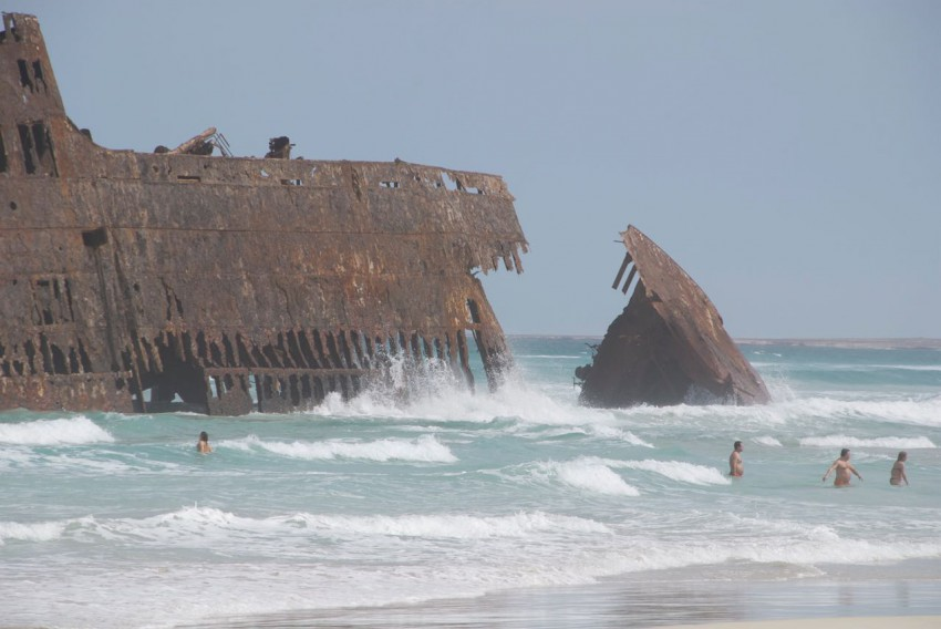 swimming_near_wreck_on_beach